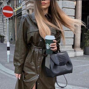 NEW Zara Faux Leather Khaki Belt Mini Shirt Dress